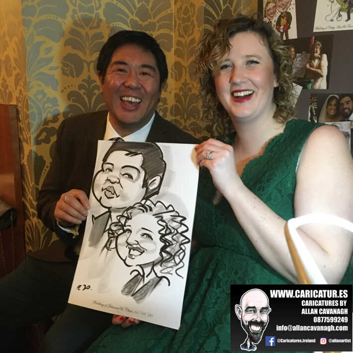 Knightsbrook hotel wedding entertainment live wedding caricature artist allan cavanagh 14
