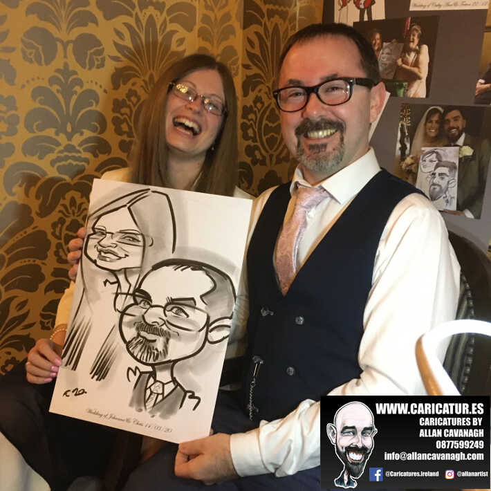 Knightsbrook hotel wedding entertainment live wedding caricature artist allan cavanagh 16