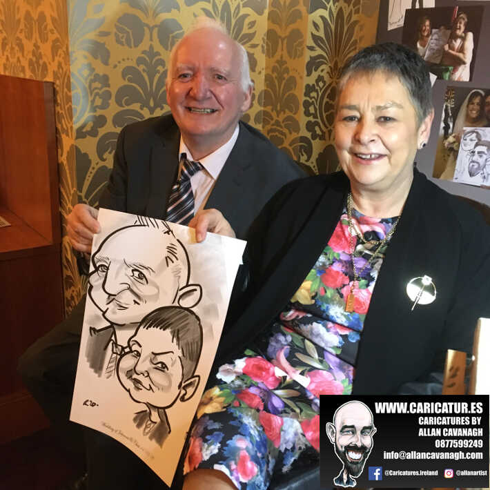 Knightsbrook hotel wedding entertainment live wedding caricature artist allan cavanagh 2