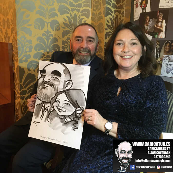 Knightsbrook hotel wedding entertainment live wedding caricature artist allan cavanagh 3
