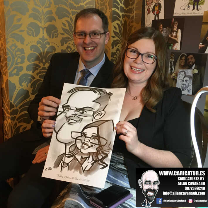 Knightsbrook hotel wedding entertainment live wedding caricature artist allan cavanagh 4