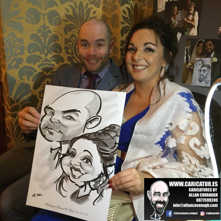Knightsbrook hotel wedding entertainment live wedding caricature artist allan cavanagh 5