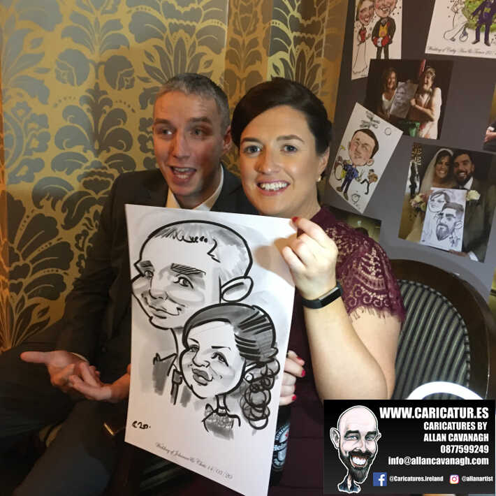 Knightsbrook hotel wedding entertainment live wedding caricature artist allan cavanagh 7