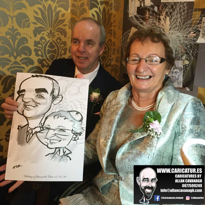 Knightsbrook hotel wedding entertainment live wedding caricature artist allan cavanagh 9