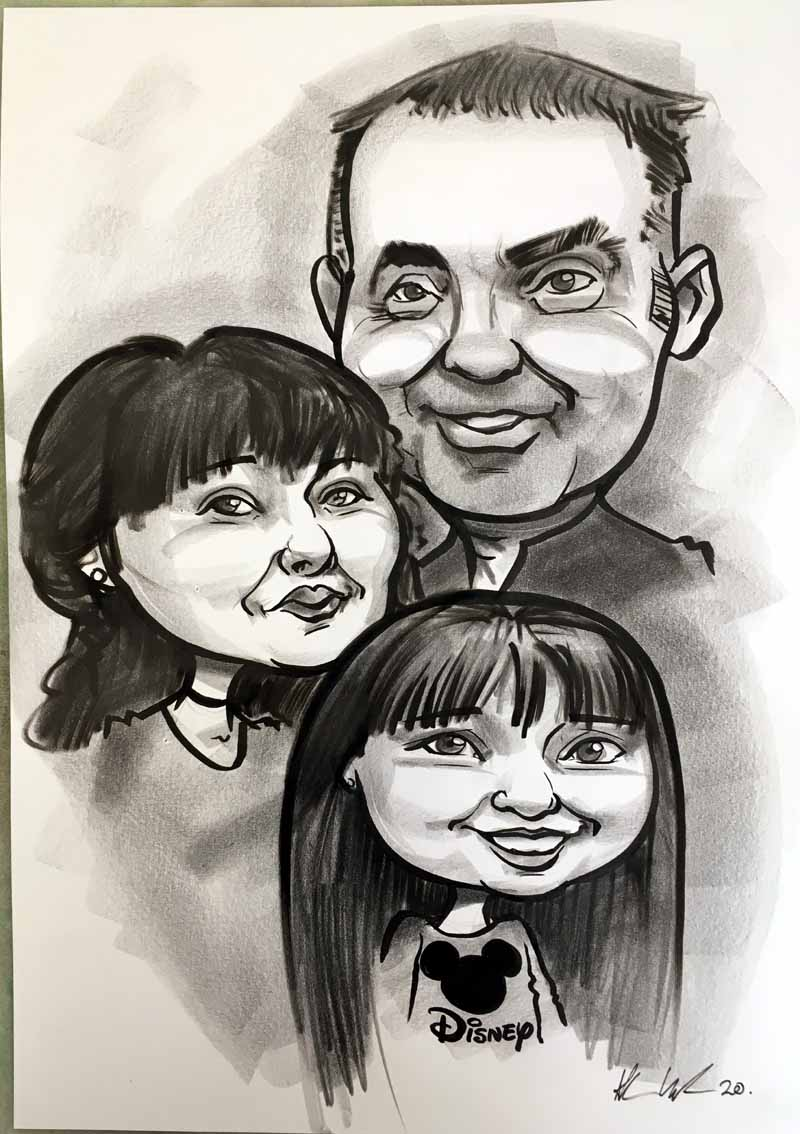 caricature from photos family