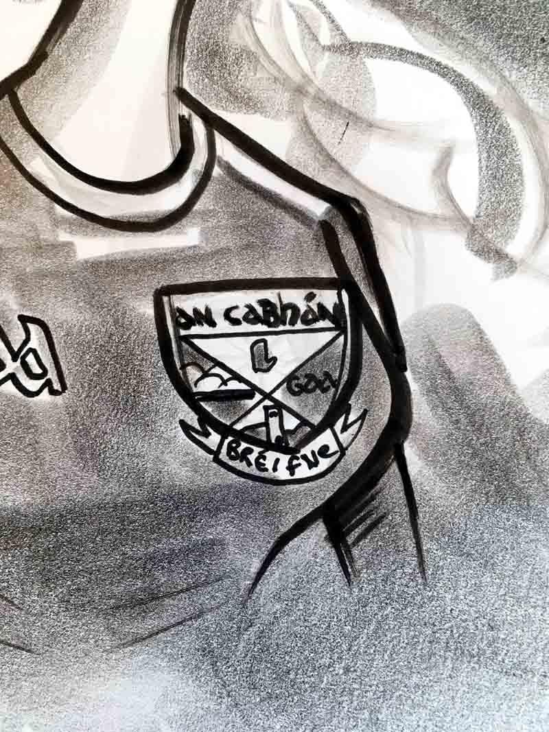 cavan gaa crest logo black and white drawing