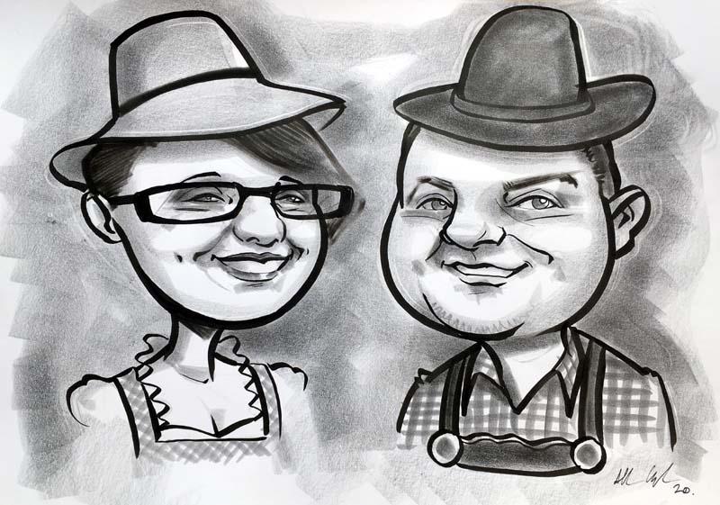 fun couple caricature oktoberfest