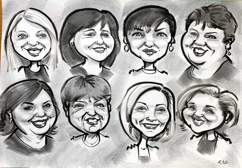 group of friends caricature from photo birthday present