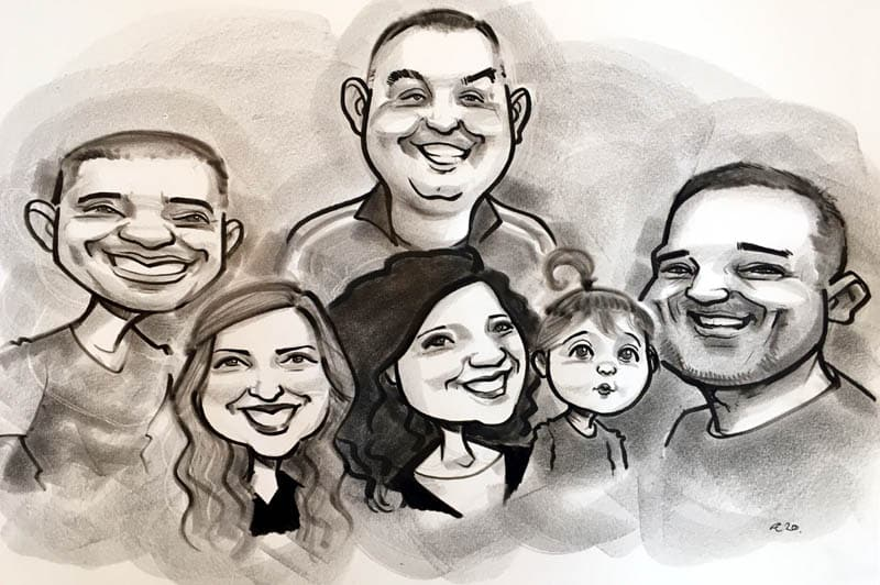 group of friends caricature from photo with baby