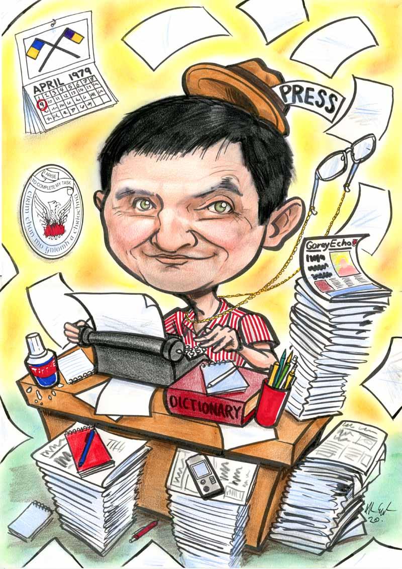 journalist retirement gift present caricature allan cavanagh