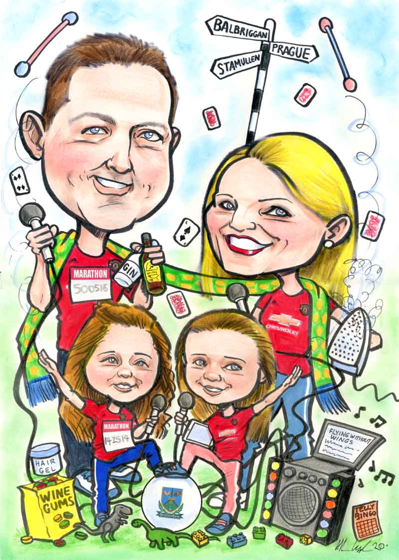 personalised family caricature ireland