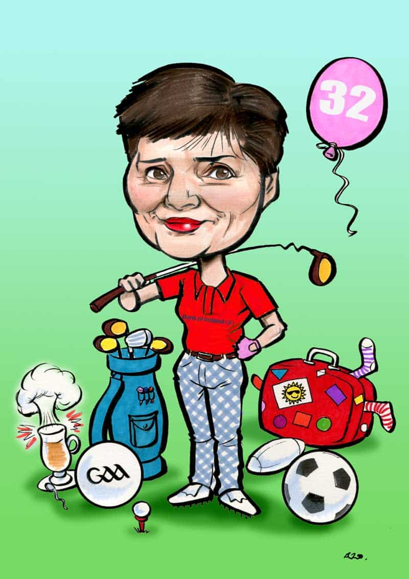 Golf caricature going away gift