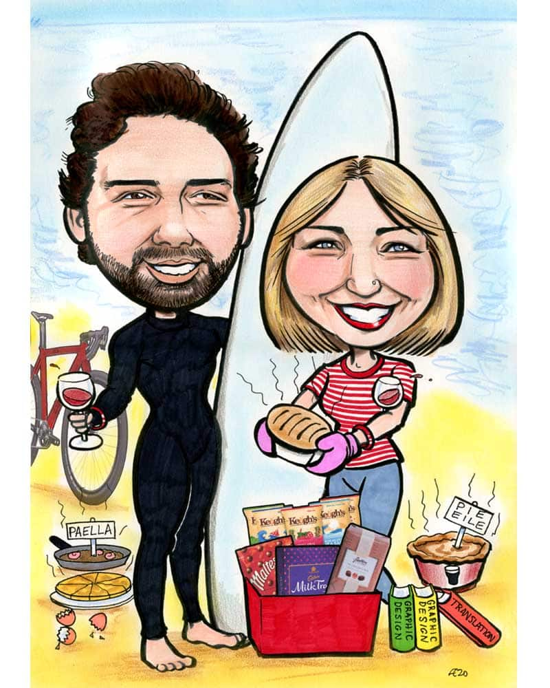 beach cooking surfing caricature allan cavanagh 1