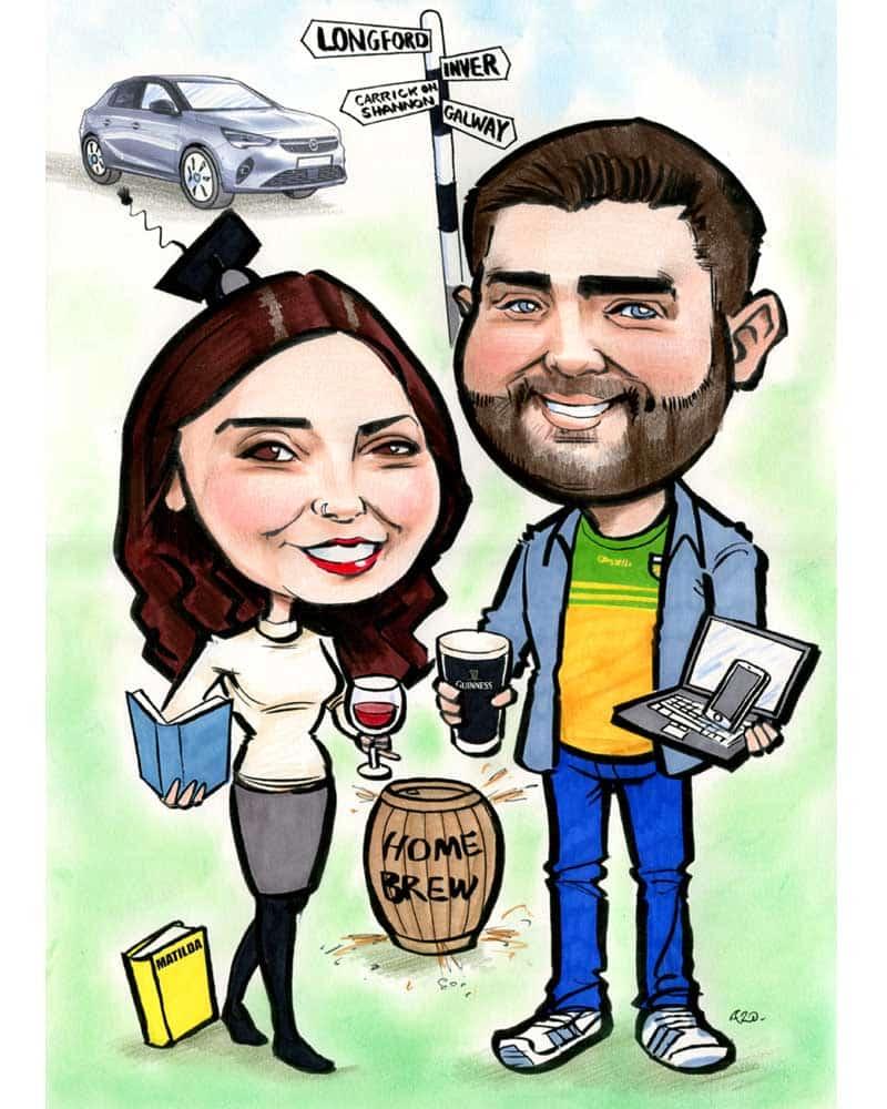 caricature of a couple allan cavanagh