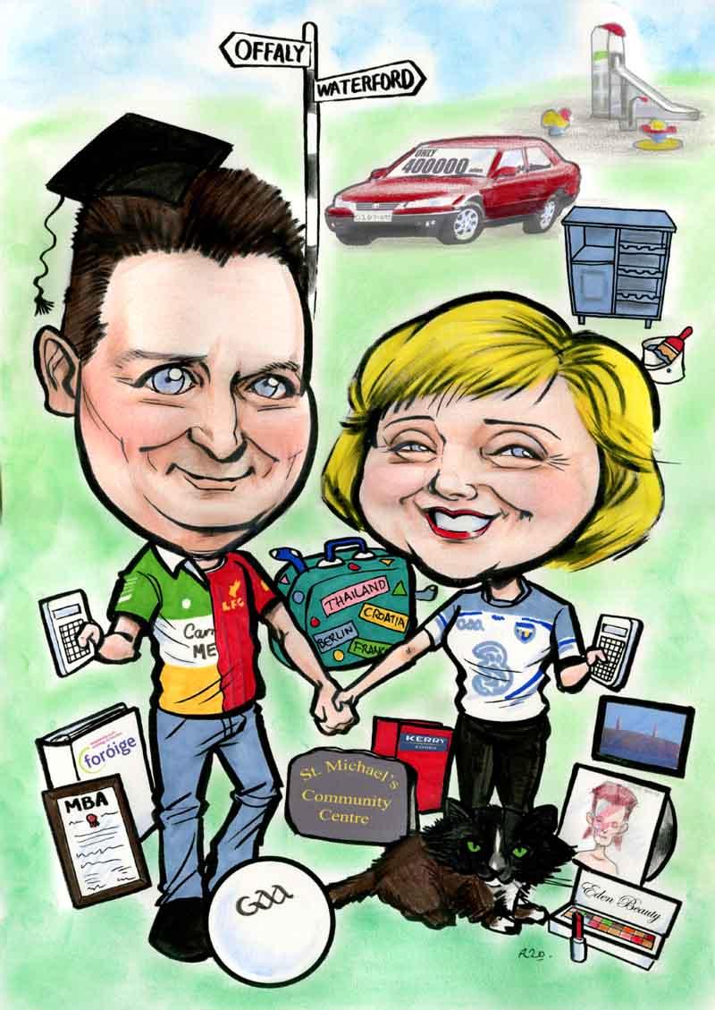 going away gift ideas ireland allan cavanagh caricatures