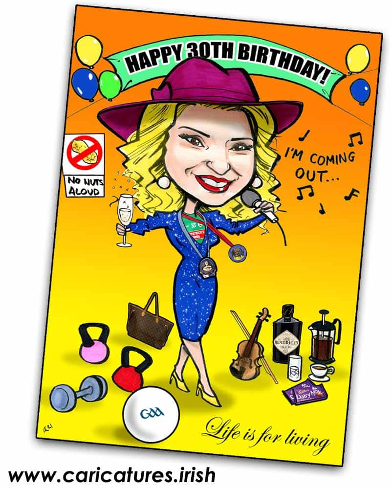 30th birthday personalised caricature order online
