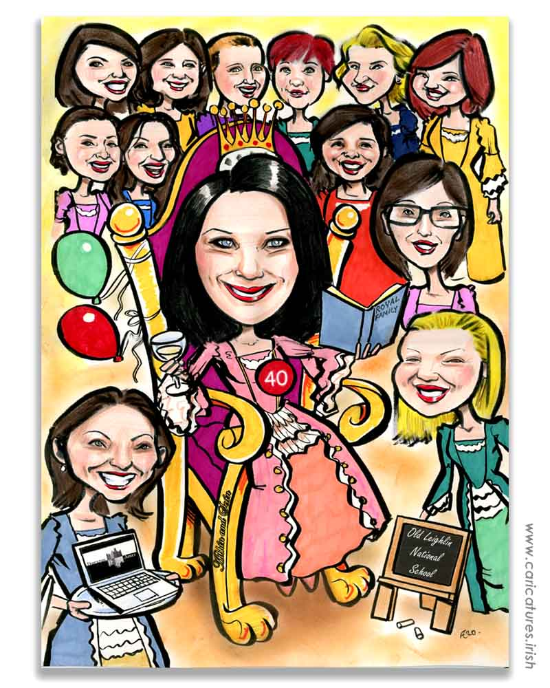 40th birthday gift caricature queen and ladies in waiting