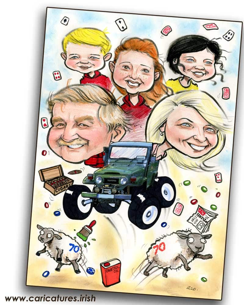 70th birthday gifts ireland personalised caricature