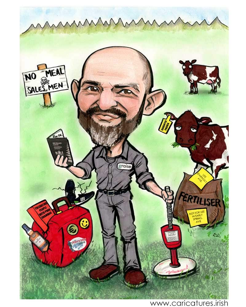 dairy consultant caricature personalised from photos allan cavanagh