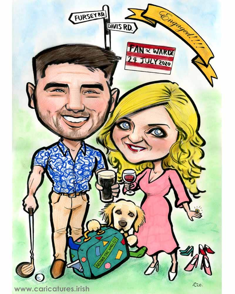 engagement gift caricature allan cavanagh personalised caricature from photo
