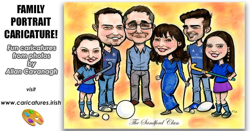 family portrait caricatures from photos personalised