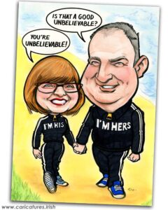 his and hers personalised caricature allan cavanagh