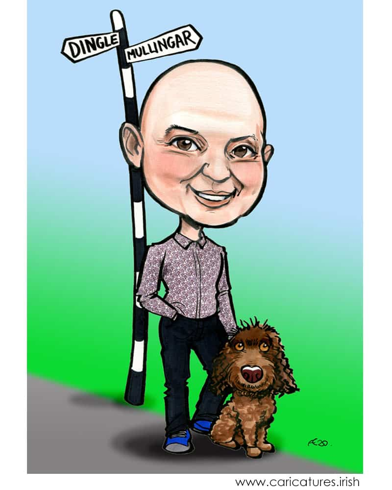 man and dog caricature from photos personalised allan cavanagh