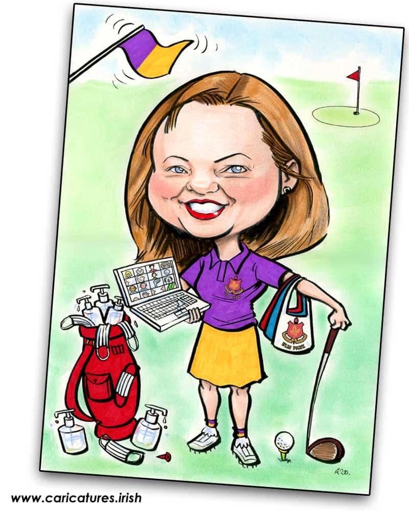 personalised golf caricature lady captain ireland