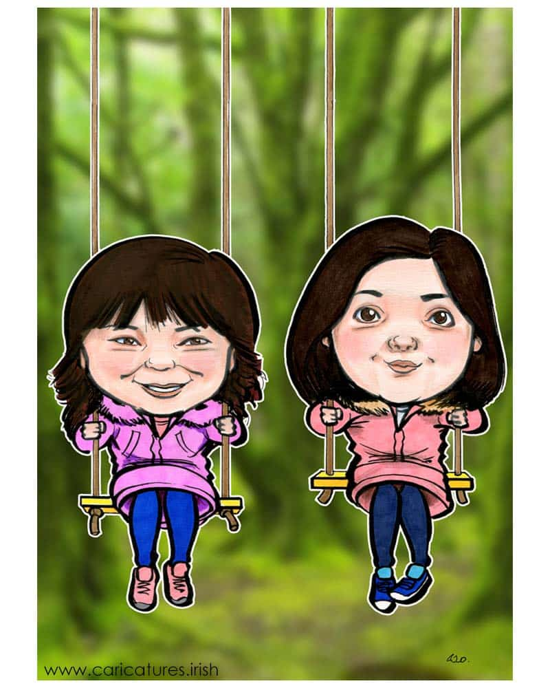 two little girls caricature from photos allan cavanagh