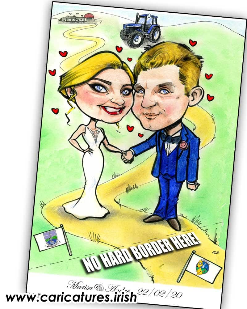 Brexit Themed Wedding Invitation caricature ireland