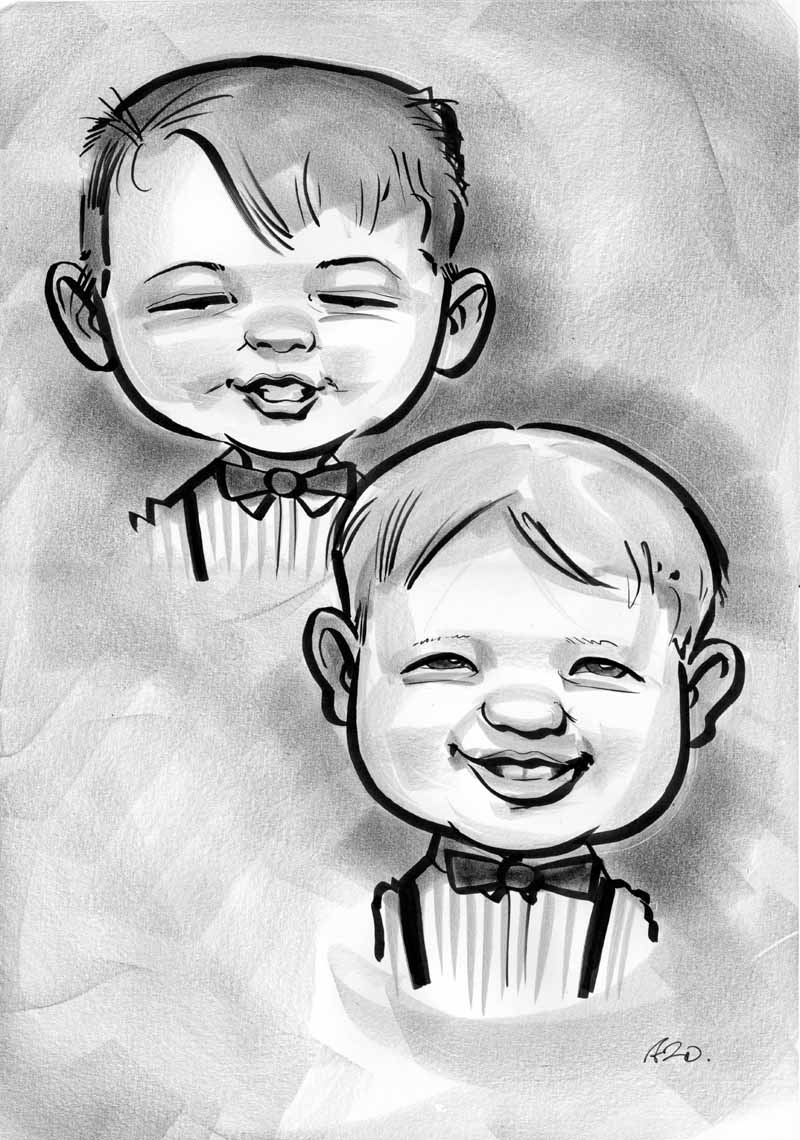 black and white caricature of two boys allan cavanagh
