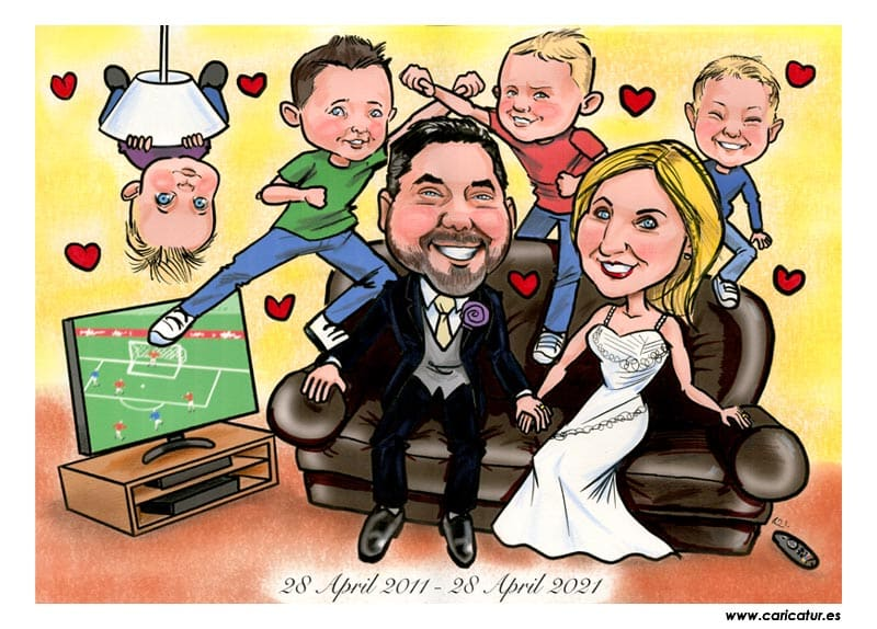 10th wedding anniversary gifts ireland caricatures allan cavanagh