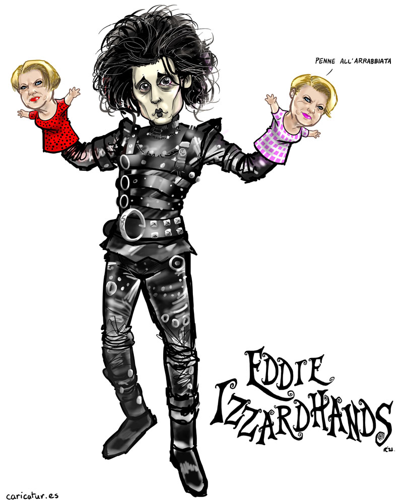 EDDIE IZZARD JOHNNY DEPP EDWARD SCISSORHANDS CARICATURE CARTOON