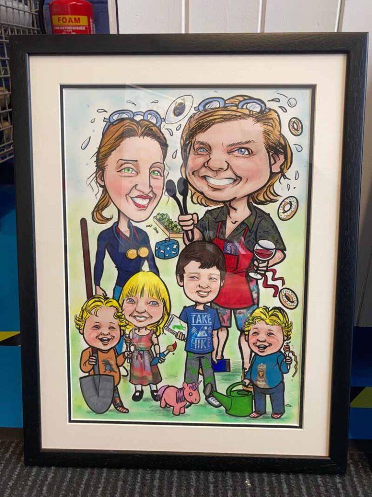 Framed Family Portrait Caricature Allan Cavanagh