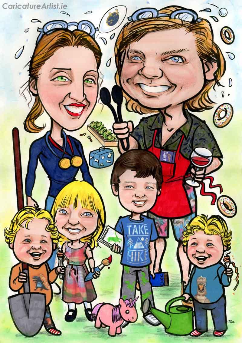 PERSONALISED FAMILY PORTRAIT CARICATURE IRELAND ALLAN CAVANAGH