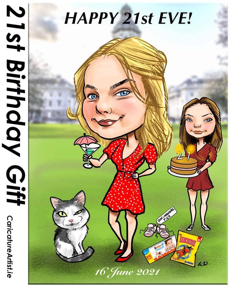 21st birthday gift caricature from photos ireland allan cavanagh