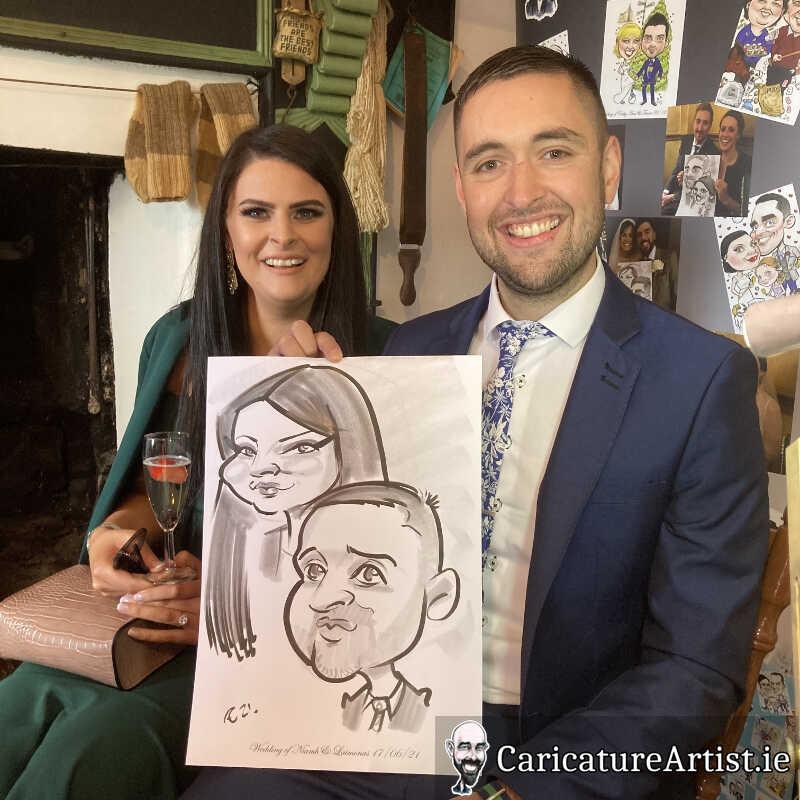caricature artist mayo wedding reception 3