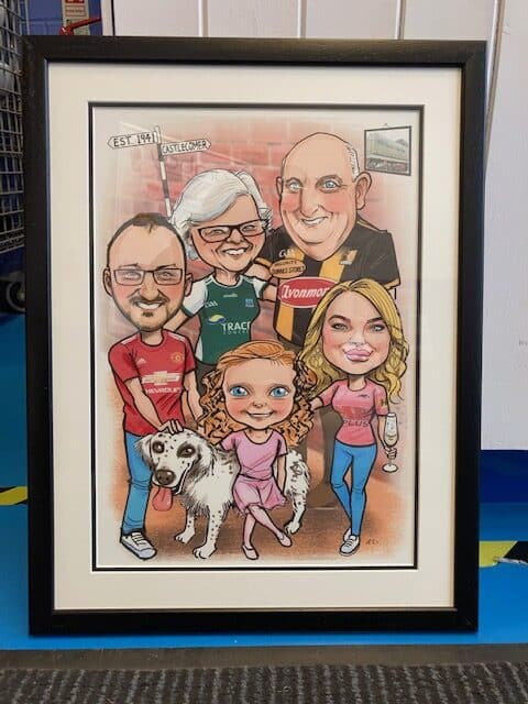 family gift caricature framed