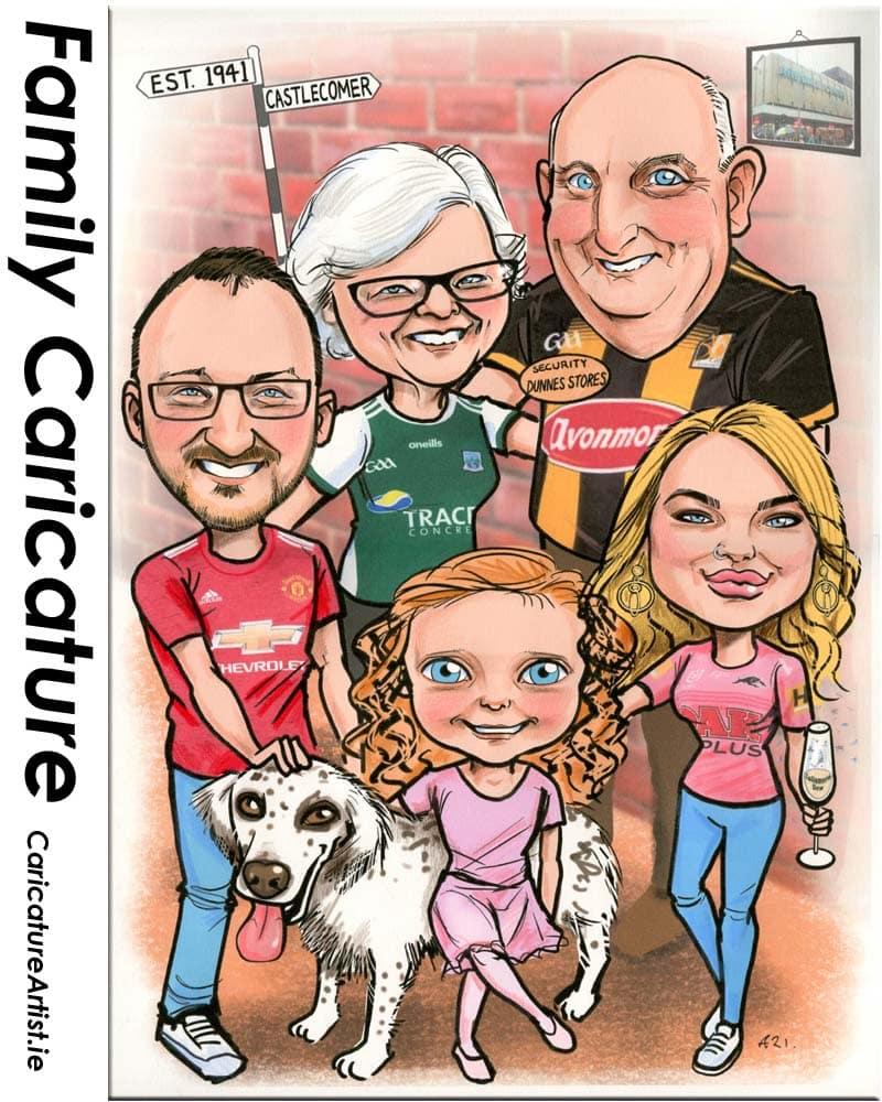 family gift caricature from photos ireland allan cavanagh