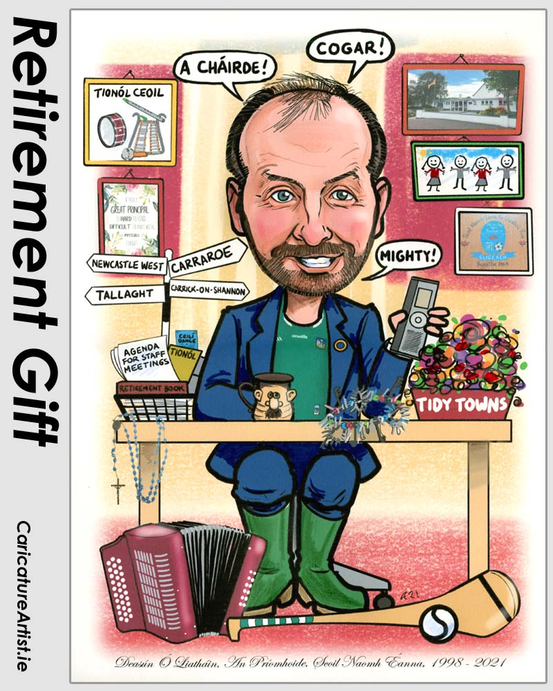 school principal retirement gift caricature from photos