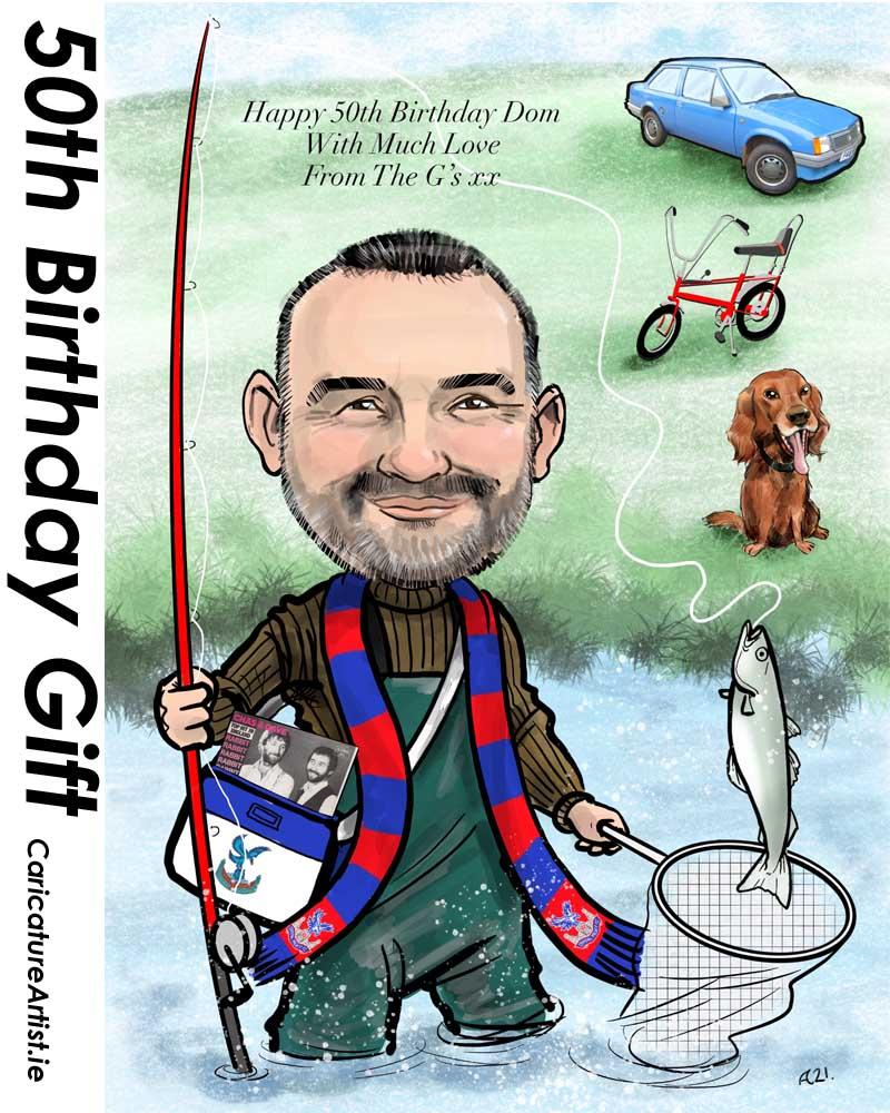50th birthday gift caricature from photos allan cavanagh