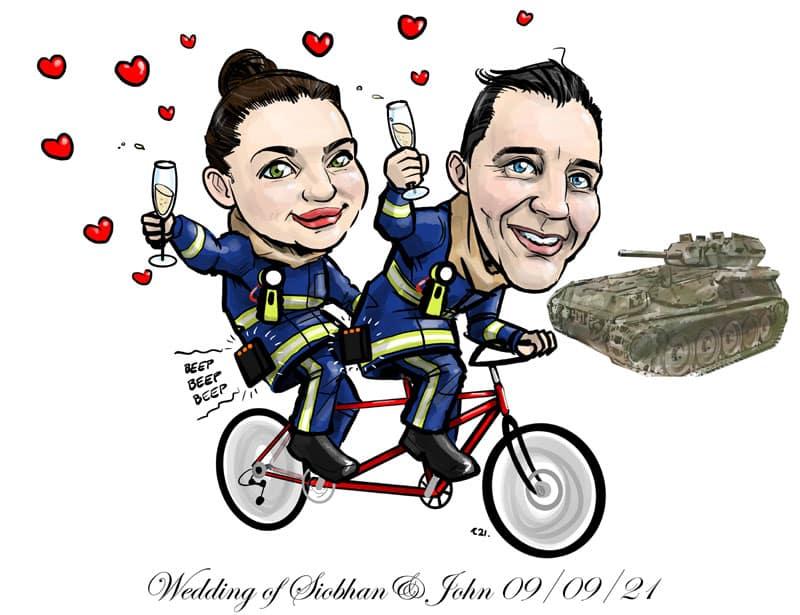 firefighters tandem bike wedding