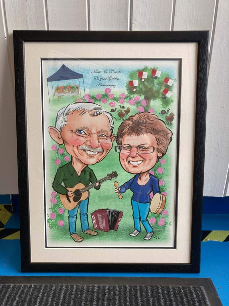 framed caricatures from photos gift ideas ireland allan cavanagh