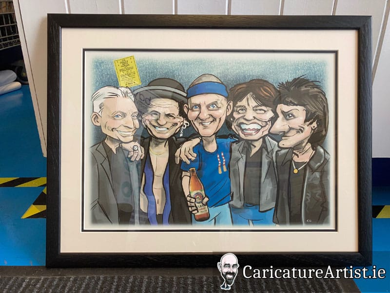 framed rolling stones caricature