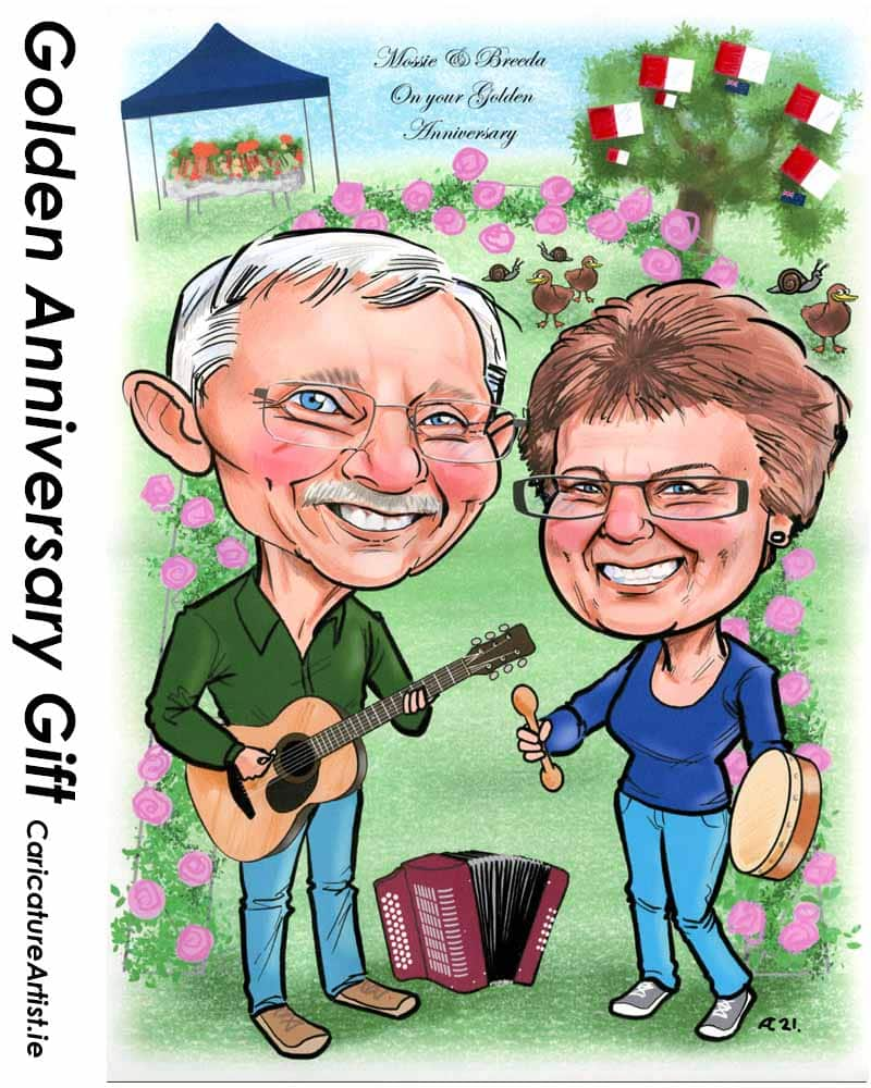 golden anniversary 50th wedding anniversary gift caricature allan cavanagh
