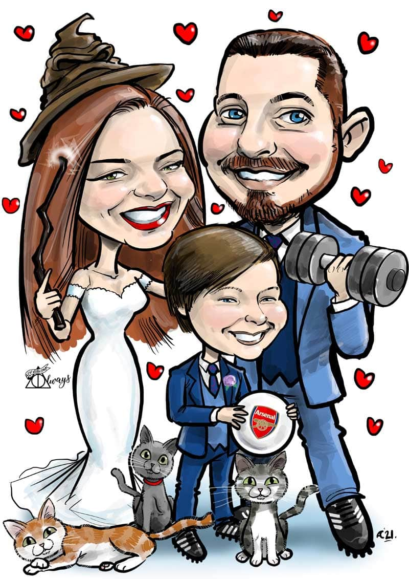 harry potter themed wedding signing board caricatures from photos