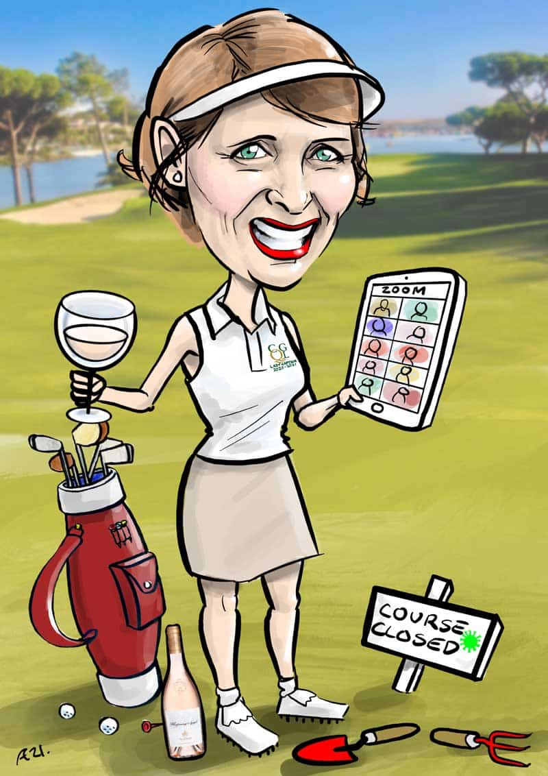 Lady captains Day gift caricature