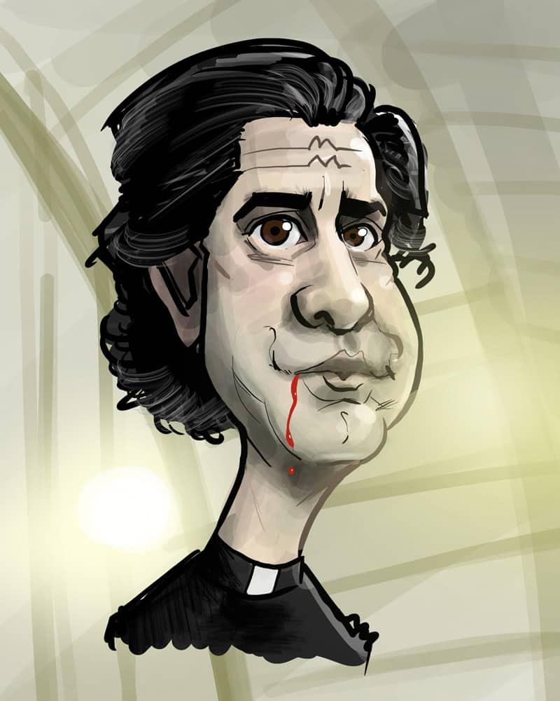 Midnight Mass Priest Caricature Hamish Linklater
