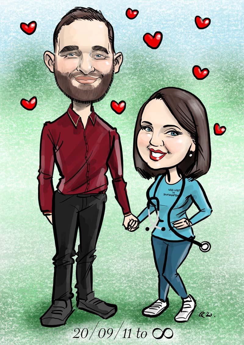 anniversary gift caricature